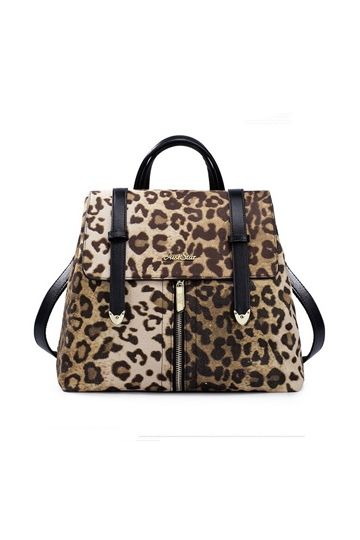 Preppy Style PU Leopard Backpack