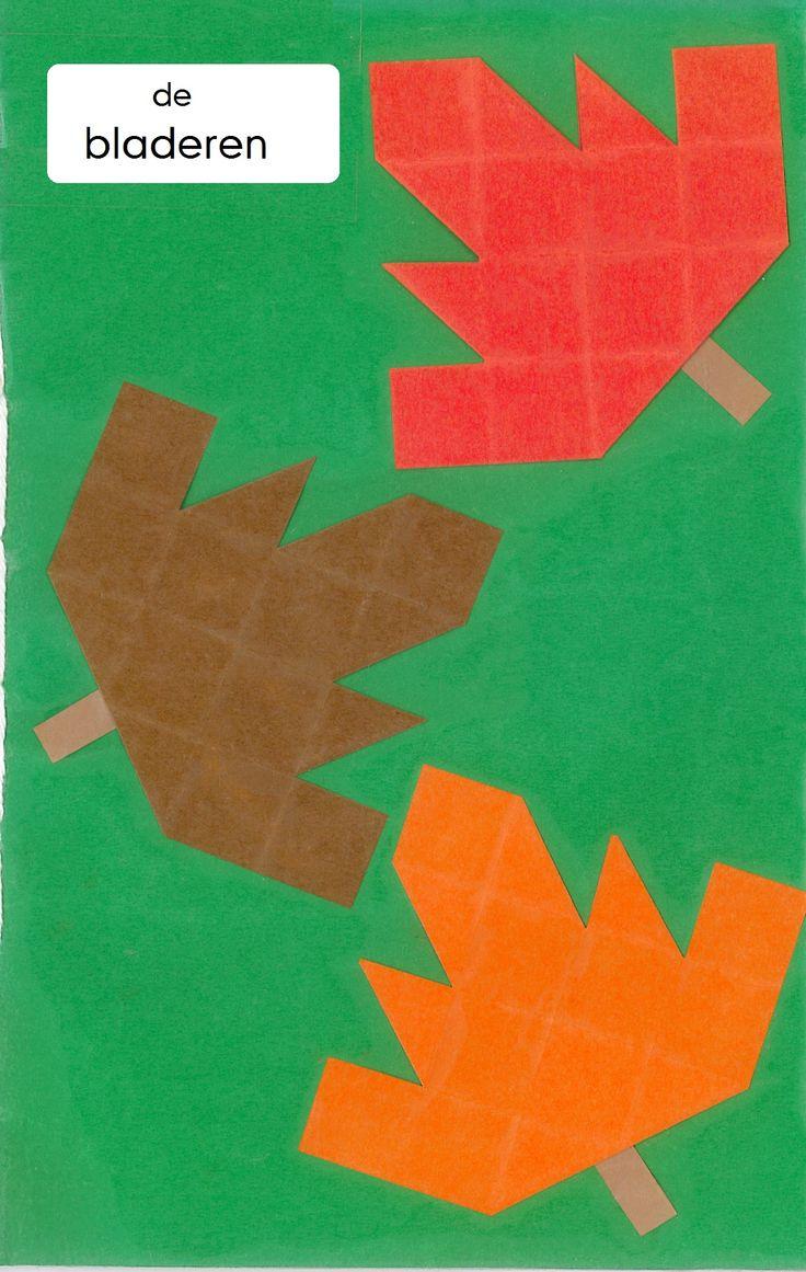 vouwwerkje 16 vierkantjes De bladeren