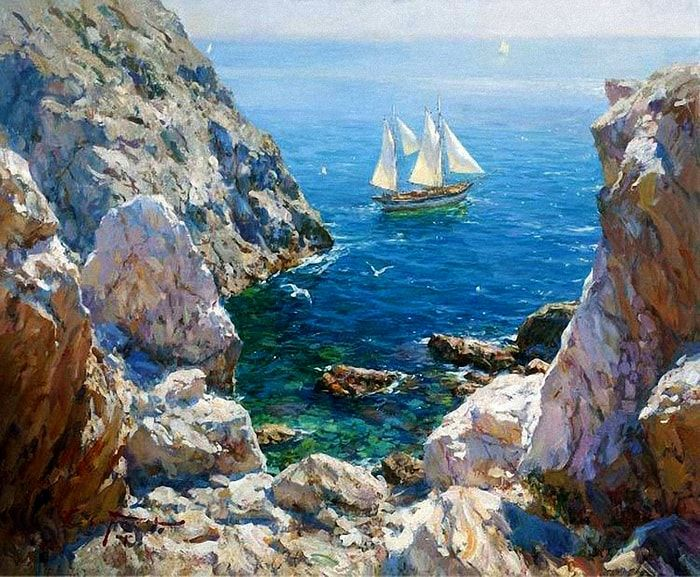 открытки художники о море выглядеть