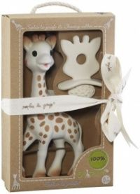 http://www.babygirlpartydresses.com/category/sophie-the-giraffe/ So Pure Sophie the Giraffe and Natural Teether Set