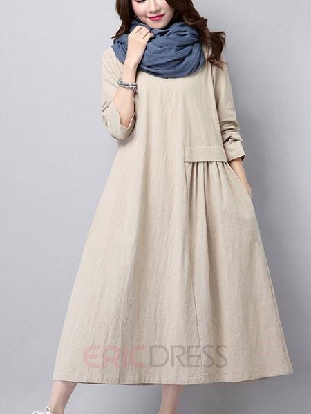 Ericdress Plain Pleated Maxi Dress Maxi Dresses