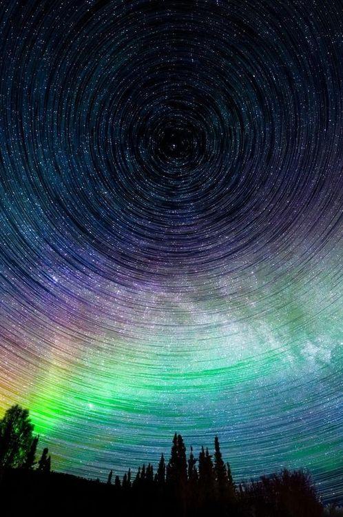 Aurora Borealis and Star trail