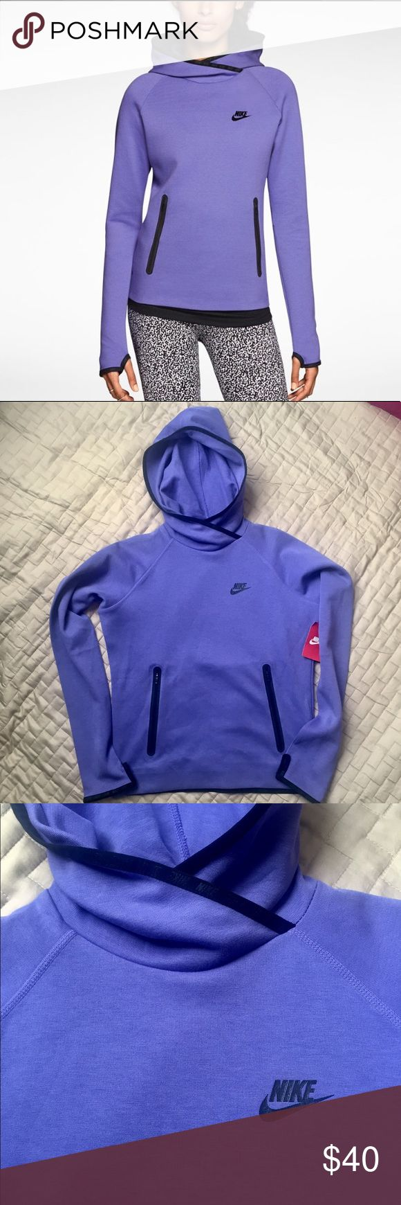 Nike tech fleece hoodie. Women's Size M. NWT Nike tech fleece hoodie size M in beautiful purple shade. Thumbholes and kangaroo pockets. Perfect for fall and winter. Elbow detail and banded Nike logo design on back. NWT. Excellent condition. Warmth without the weight.    📦 Bundle and save! 🥂 Reasonable offers welcome 🚫 No trades at the moment 🤔 Any questions, please ask! Nike Tops Sweatshirts & Hoodies