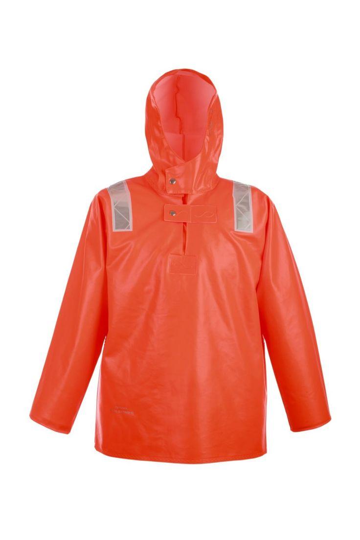KURTKA KANGURKA WODOOCHRONNA Model: 3088  Zakładana przez głowę kurtka typu kangurka produkowana z wytrzymałej tkaniny na podkładzie z bawełny, co znacznie zwiększa komfort użytkowania. Tkanina ta charakteryzuje się trudnopalnością oraz wysoką odpornością na słoną wodę. Produkt dedykowany jest szczególnie pracownikom wykonującym ciężkie prace rybackie w ekstremalnie trudnych warunkach na morzu, zapewniając ochronę przed silnym wiatrem i deszczem.