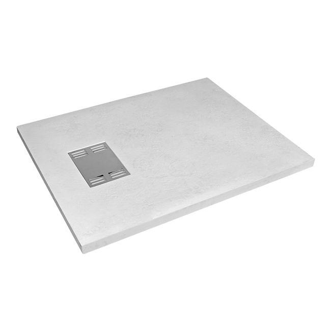 Plato de ducha carga mineral antideslizante modelo Slate de Sensea, extraplano, color blanco, dimensiones 140x70cm