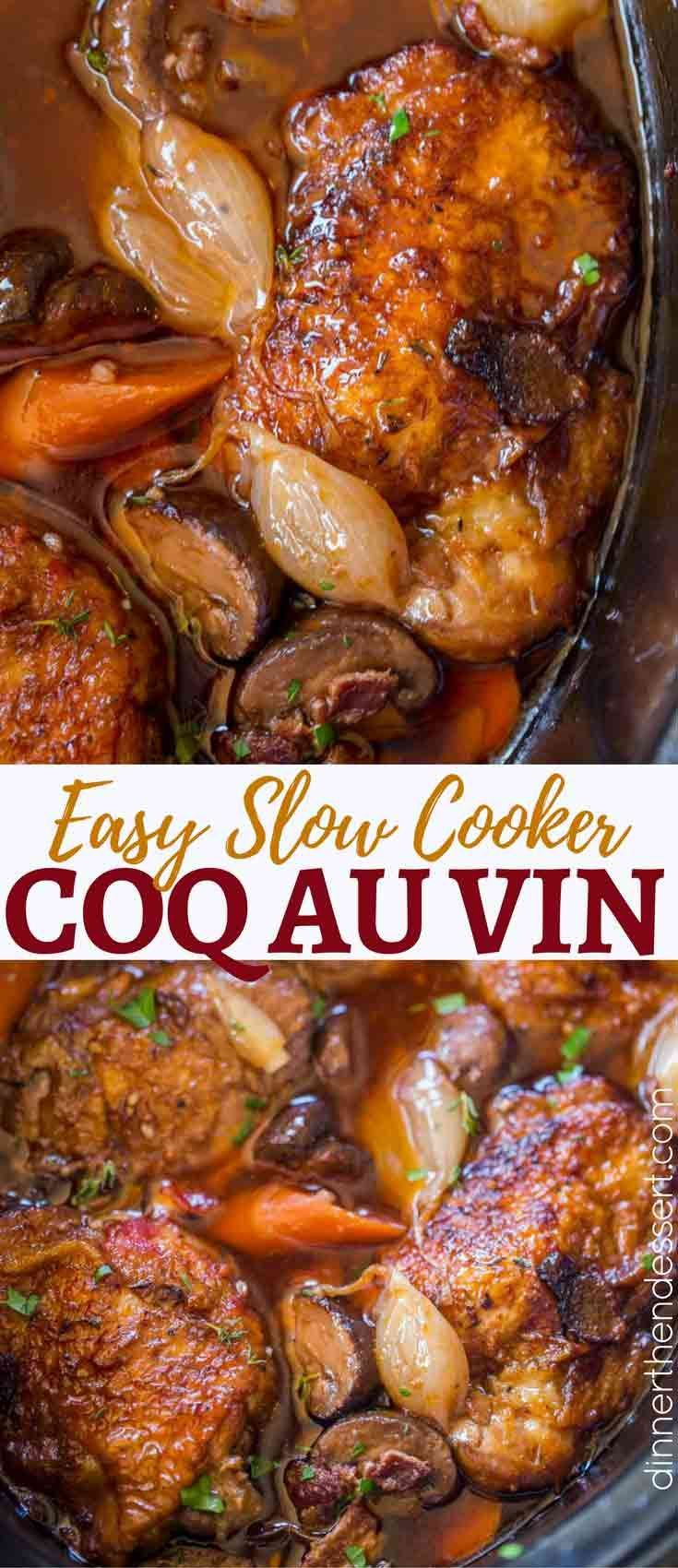 38cde80c5544 Slow Cooker Coq Au Vin has all the red wine braised chicken flavors with  shallots