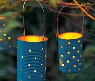 paint and stamp out patterns in an old tin can to make a hanging lantern.