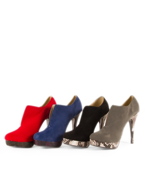 High heel suede ankle boots in 4 colors, black, grey, red and royal blue. Heel height: 13cm. #fw13 #fashion #womensfashion #ankleboots #highheels #shoes #suede