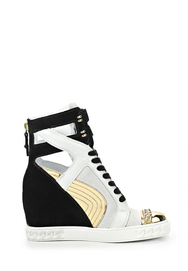 CASADEI SNEAKERS BLACK, WHITE & GOLD