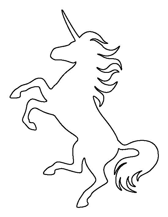 Unicorn pattern. Use the printable outline for crafts, creating stencils, scrapbooking, and more. Free PDF template to download and print at http://patternuniverse.com/download/unicorn-pattern/