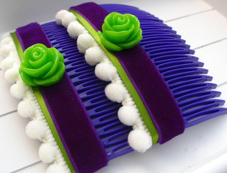 Peignes pour les cheveux - violet à fleur verte (taille grande) : Accessoires coiffure par piola