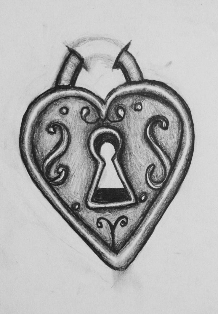 Heart Lock Drawing : heart, drawing, Drawing, Heart, Ideas