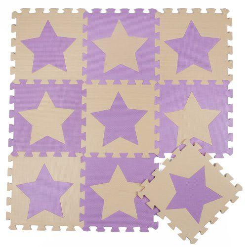 30X30cm Kids Living Room Floor Mat Playmats Children Jigsaw Puzzle Mat - Beige & Purple Stars (16pcs)