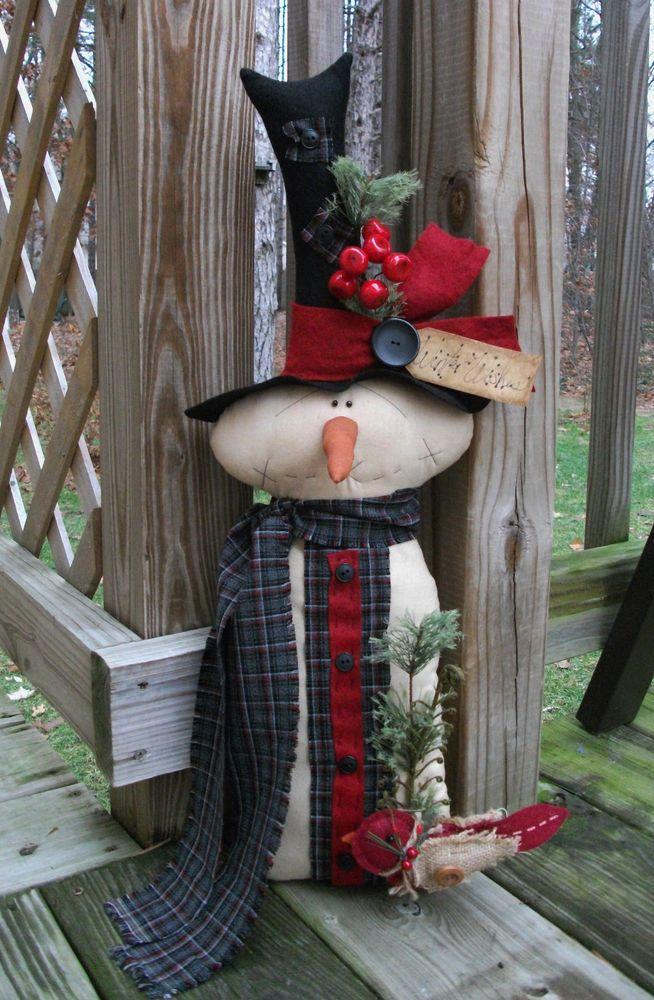 Folk Art PrimiTive WinTer ChrisTmas SNOWMAN Cardinal Stump DOLL DecoraTion Tag #NaivePrimitive #MelissaHarmon