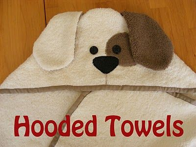 Really straight forward and easy instructions to follow to make a cute hooded towel.  i made a moose one.