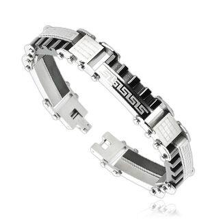 Armbåndnd i rustfritt stål til herre. Lengde:22,5 cm. Bredde: 3,7 cm. Tykkelse: 5 mm. Materiale: Rustfritt stål. #herrearmbånd #smykke #armbånd #smykketilmann #stål #tribal