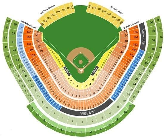 Dodger Stadium Seating Dodger Stadium Seating Chart With