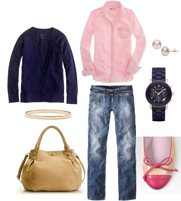 """Pink and Navy"" by bluehydrangea on Polyvore"