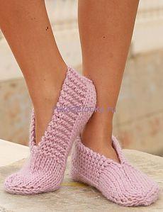 Розовые тапочки - следки от DROPS | Рукоделочка