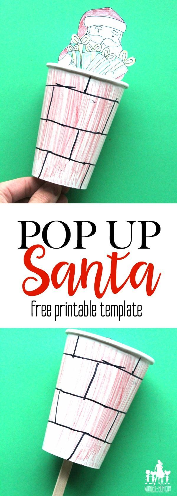 pop up santa craft for kids!  They will love this christmas craft that's perfect for parties or the preschool classroom - download the free template and watch santa pop up the chimney #christmas #christmascrafts #christmascraftsforkids #santa #SantaClaus #santacrafts #holidaycraft #freeprintable #printable