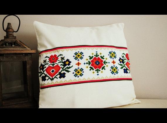 Folk design pillow case  colored folk pattern by AliCards on Etsy, $16.00