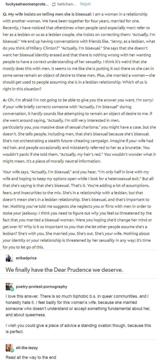 We finally have the Dear Prudence we deserve. There is so much biphobic b.s. in queer communities, and i honestly hate it. http://fuckyeahwomenprotesting.tumblr.com/post/159192700365/eli-the-lezzy-poetry-protest-pornography