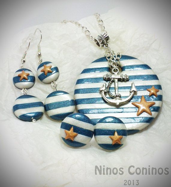 Sailor Pin up - Hand made in polymer clay - Set - Earring studs - Long earrings - Anchor - Stars - Pin up
