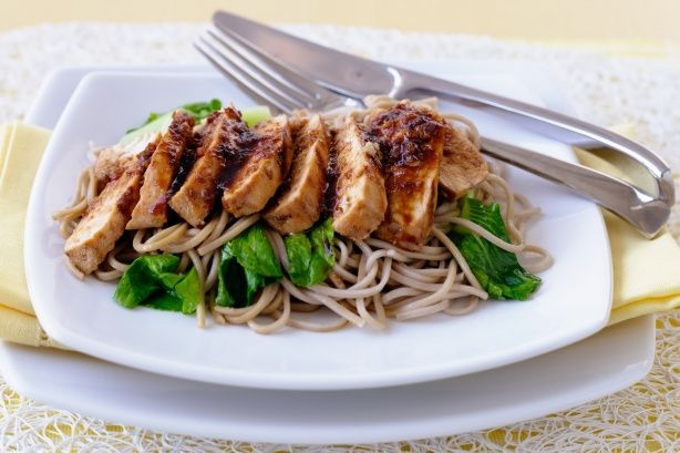 Serve Japanese char-grilled chicken breast fillets with soba noodles and bok choy and everyone will be asking for more!