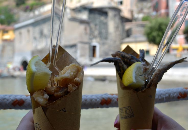 Fried fish and calamari in paper cones at Batti Friggitoria in Vernazza, Italy | NY Food Journal