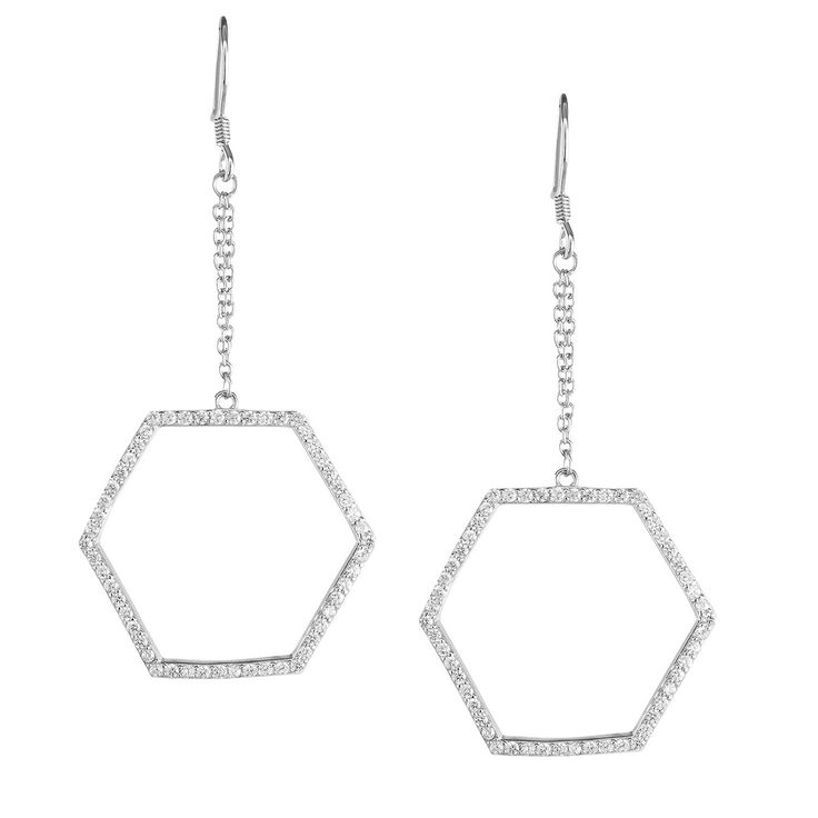 La Preciosa Sterling Silver Cubic Zirconia Open Hexagon Dangle Earrings Women's