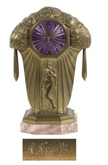 A French gilt-bronze Art Deco striking mantel clock, c1925.