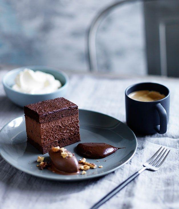 Dark chocolate délice, salted-caramel ganache and chocolate sorbet recipe…