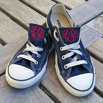 We love the subtle monogram touch on these super trendy and cool Converse sneakers! Why should you wear someone else's label when you can wear your own? Customize an embroidered monogram in your choice of font and color in place of the Converse label and you can make your own style statement, right down to your toes! Available in sizes infant 4 - 10, Youth 10-5Available in White, Navy, Pink, Red or Black. With any questions, we can also be reached directly by calling 203....