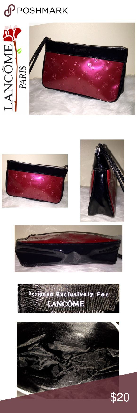 """Lancôme Designer Cosmetic Bag Lancôme Designer Cosmetic Bag, Beautiful Two Toned Dark Pink and Black Vinyl Material with Black Nylon Interior, Zip Top Closure with 6"""" Zip Handle, Approx. Size is 8 1/2""""x 5 1/2""""x 2 1/2"""", NWOT! Lancome Bags Cosmetic Bags & Cases"""