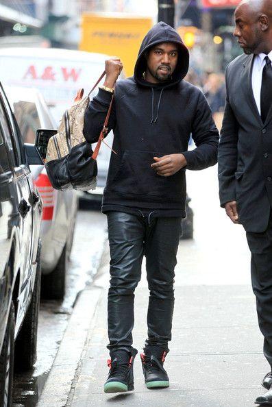 Kanye-Wet-Givenchy-double-layer-hooded-sweatshirt-Custom-snakeskin-backpack-bag