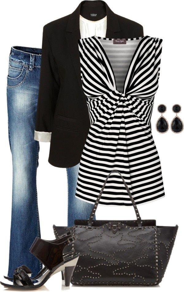 Use stripes to your advantage with an oval body type. These stripes draw attention  up with an empire waist and v-neck. A great fitting blazer will create a long lean line when worn open over the top. The light washed boot cut jeans also help balance and draw attention away from the mid-section.