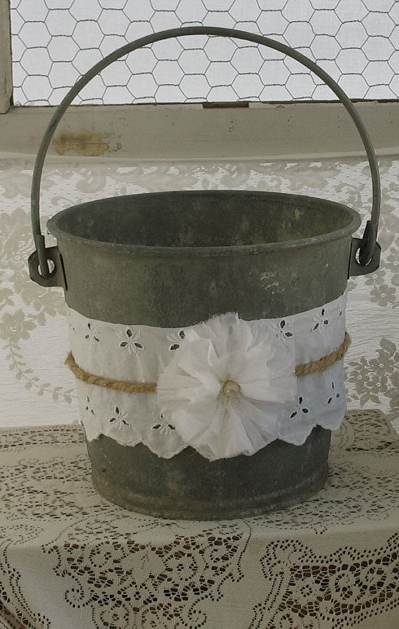 Vintage Farmhouse Bucket Galvanized Bucket by AuntieOpalsAttic, $46.00