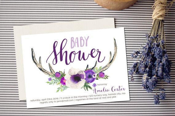 Antler Baby Shower Invitation Printable, Oh Deer Purple, Lilac Woodland Theme, Antlers Party Invite, Couples Coed Shower, Florals, Boho