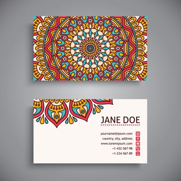 Bonita tarjeta de visita con un mandala Vector Gratis