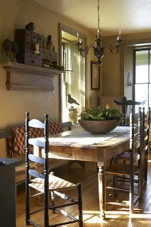 Yes this is a neat farmy look, but it's too primitive for me. Love the table, but I'd pair it up with some modern and old things.
