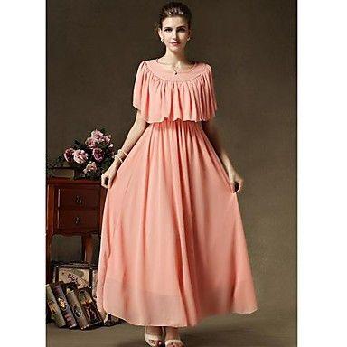Chal vintage TS Plisados gasa vestido maxi  – USD $ 26.99