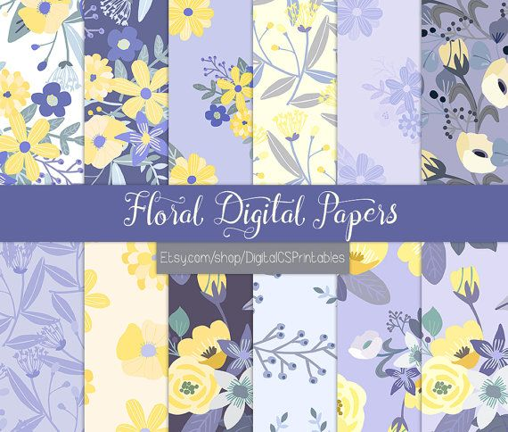 Purple digital paper purple Floral digital paper floral Flower digital paper flower Purple scrapbook paper commercial use purple and yellow by DigitalCSPrintables