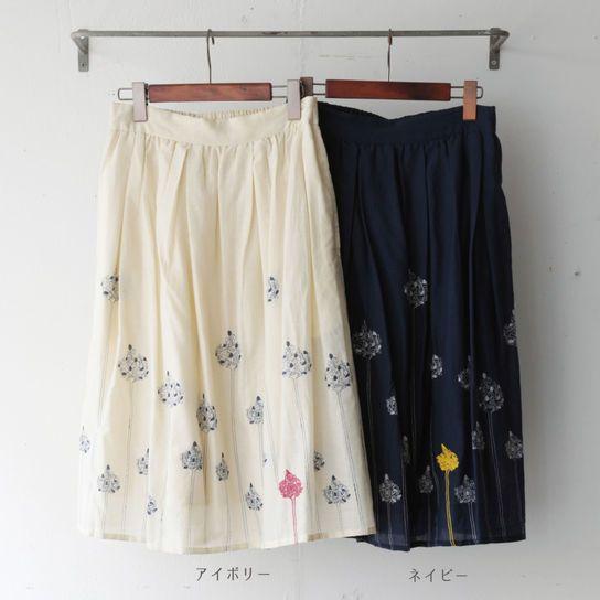 スカート フラワープリント&エンブロイダリー