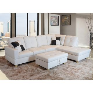 Delma 3-piece White Faux Leather Right Chaise Sectional Set | Overstock™ Shopping -  sc 1 st  Pinterest : white faux leather sectional - Sectionals, Sofas & Couches