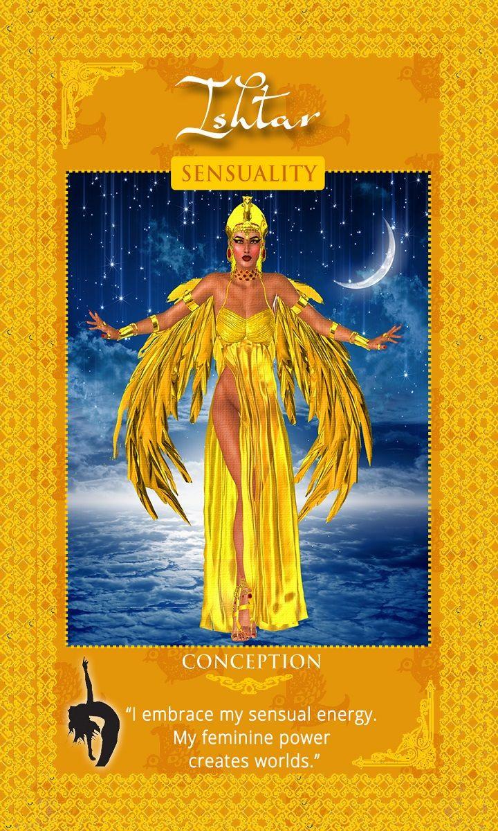 """Sacred Intention: """"I embrace my sensual energy. My feminine power creates worlds."""" Mesapatomian Goddess Ishatar. Womanifesting: Fertility Goddess Affirmation and Manifestation Cards."""