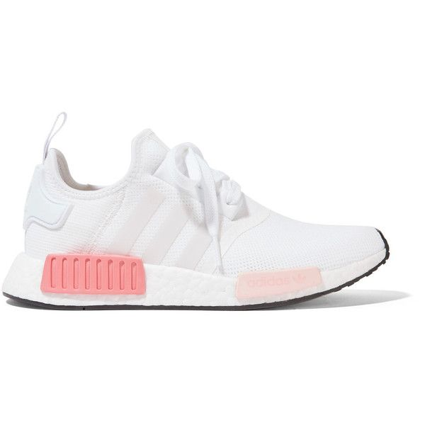 adidas Originals NMD_R1 rubber-paneled mesh sneakers ($130) ❤ liked on Polyvore featuring shoes, sneakers, white, white lace up shoes, white trainers, white rubber shoes, rubber sneakers and white shoes