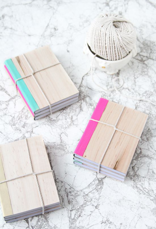 DIY // Leather + Wood Covered Notebooks