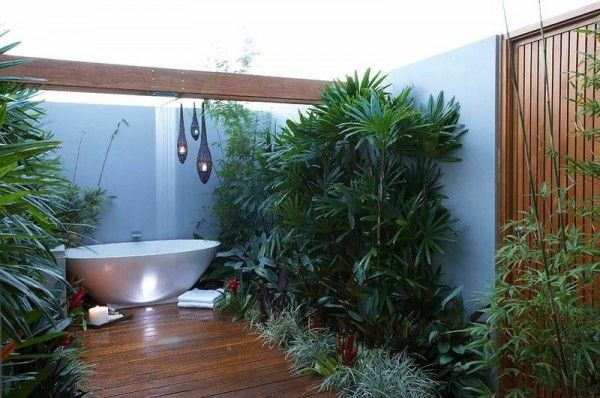 This tub does a great job of giving an outside/inside mixed feel.  I love it!
