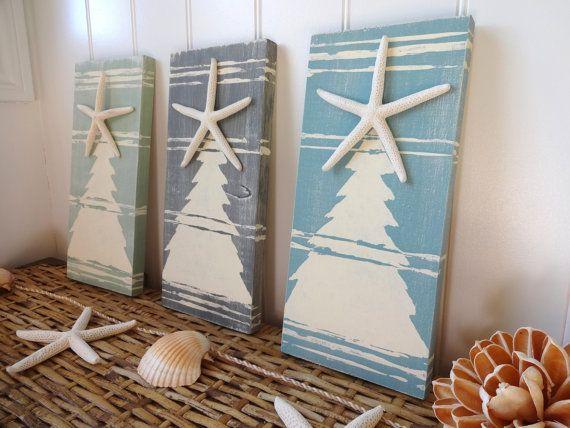 Nautical Christmas Beach Sign Starfish by MeetMeByeTheSea