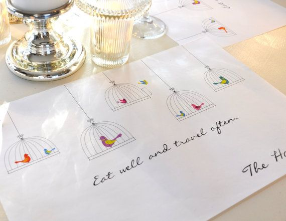 Personalized Paper Placemat Set Eat Well And Travel Often Table Runner Setting Party